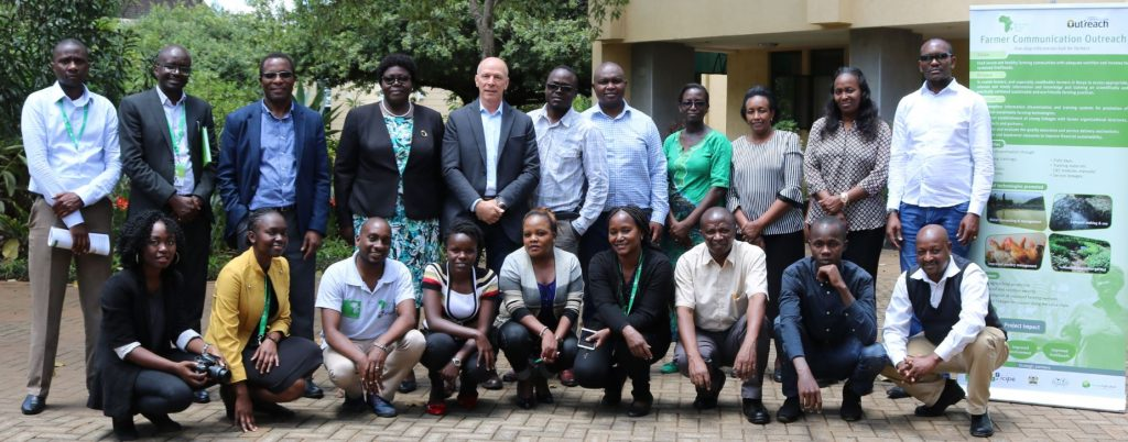 The visiting Board members 4th and 5th standing from left to right; Ms Anne Onyango and Andreas Schriber (Chair of the Board) with the BvAT staff led by Dr. Amudavi, the Executive Director, 3rd from left standing.